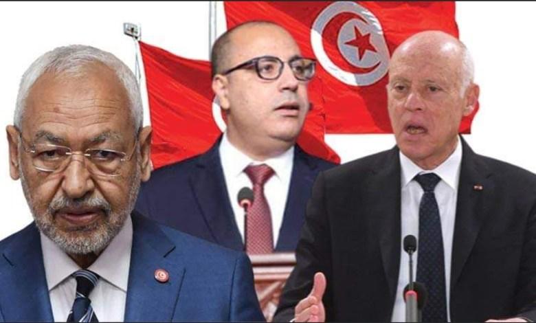 هشام المشيشي راشد الغنوشي قيس سعيد